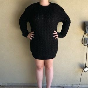 NWT Boohoo Black Chunky Cable Knit Sweater Dress